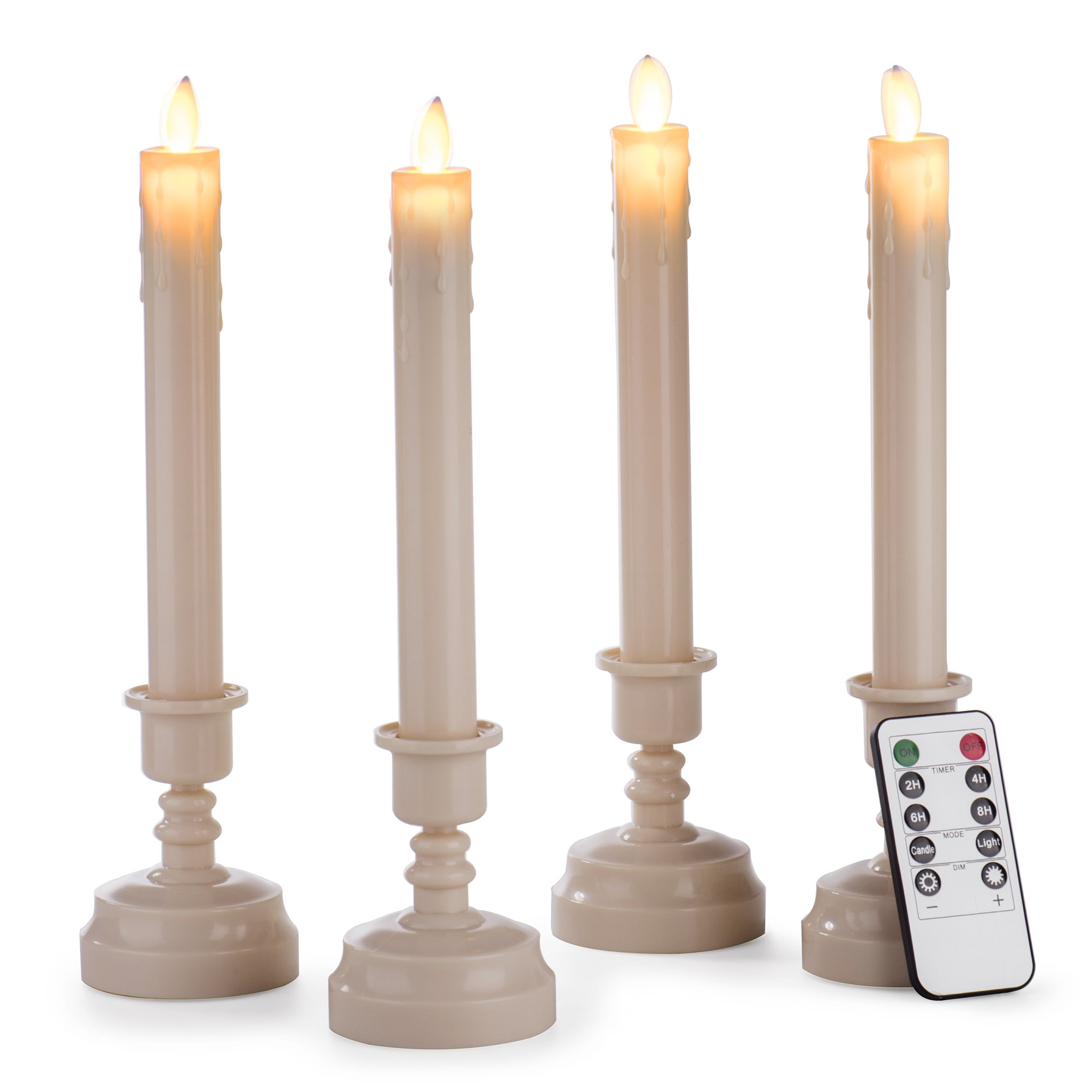 Enpornk Set of 4 12.8'' Dancing Flame Window Taper Candles Battery Operated Flickering Electric Flameless Pillar LED Candles with Remote Timer