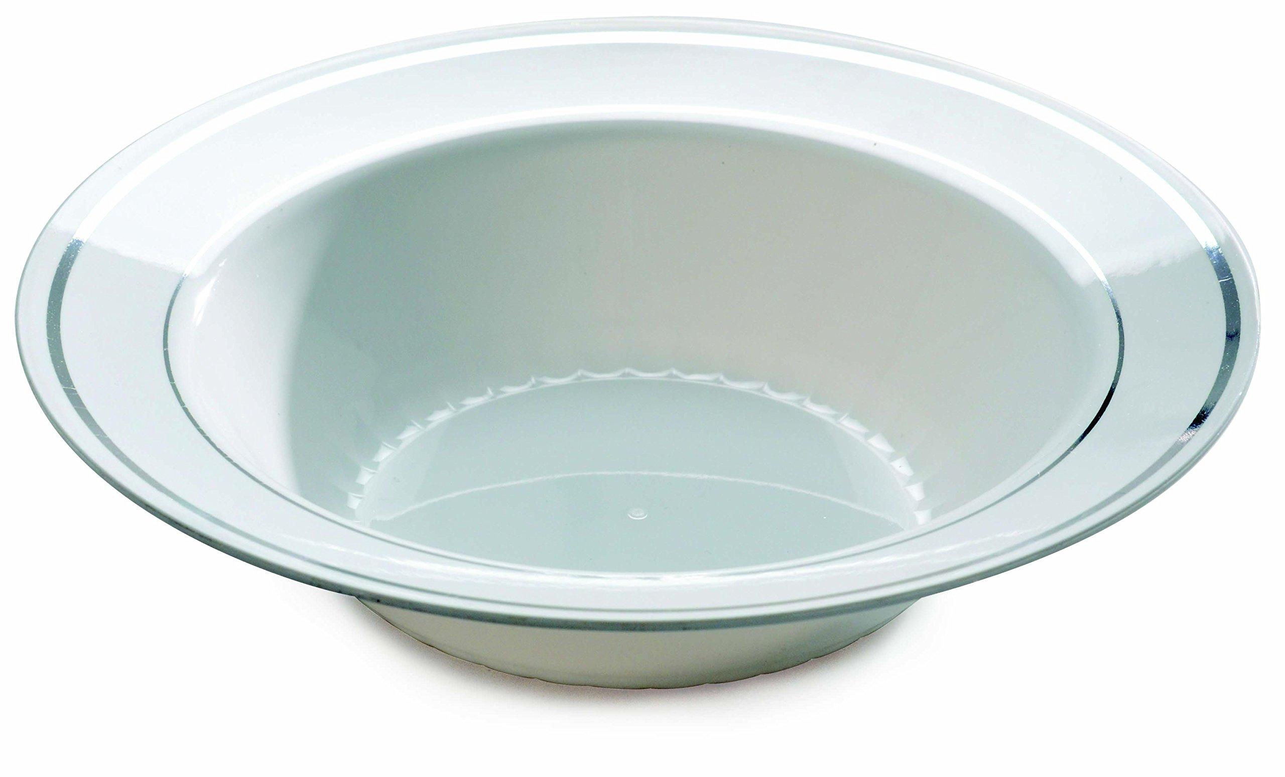 Fineline 12 oz Silver Splendor Bowl (Case of 150) (15 x 10), White