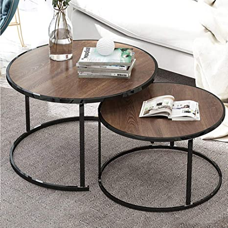Amazon Com Nozama Modern Nesting Tables Set Of 2 Round Coffee Tables For Home Office Brown Kitchen Dining