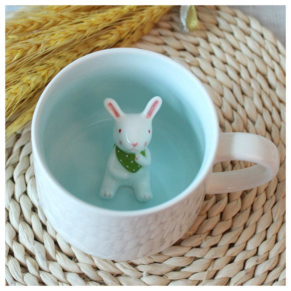 3D Cute Cartoon Miniature Animal Figurine Ceramics Coffee Cup - Baby Rabbit Inside, Best Office Cup & Birthday Gift (Rabbit) by Kederastyle