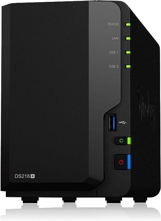 Synology DiskStation DS218+ Ethernet Compacto Negro NAS - Unidad Raid (4 TB, Unidad de Disco Duro, Unidad de Disco Duro, SSD, Serial ATA III, 2000 GB, 2.5/3.5