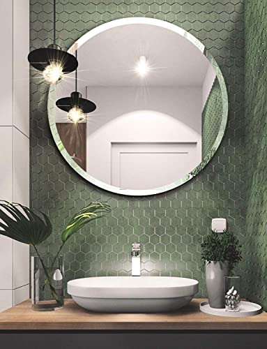Frameless Round Bathroom Wall Mirror – 31.5 Beveled Polished Round Mirror for Bathroom Wall