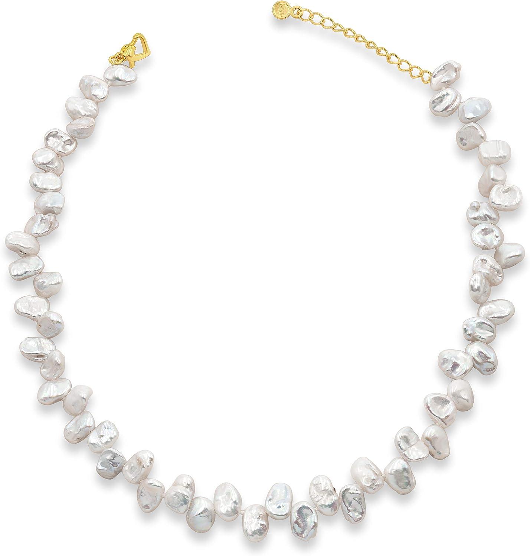 Secret & You Collar de Perlas de Mujer Cultivadas de Agua Dulce Barrocas Keshi de 38 cm de Largo con Cadena de Extensión Perlas Barrocas Keshi de 9-10 mm con Nudo Entre Cada Perla.
