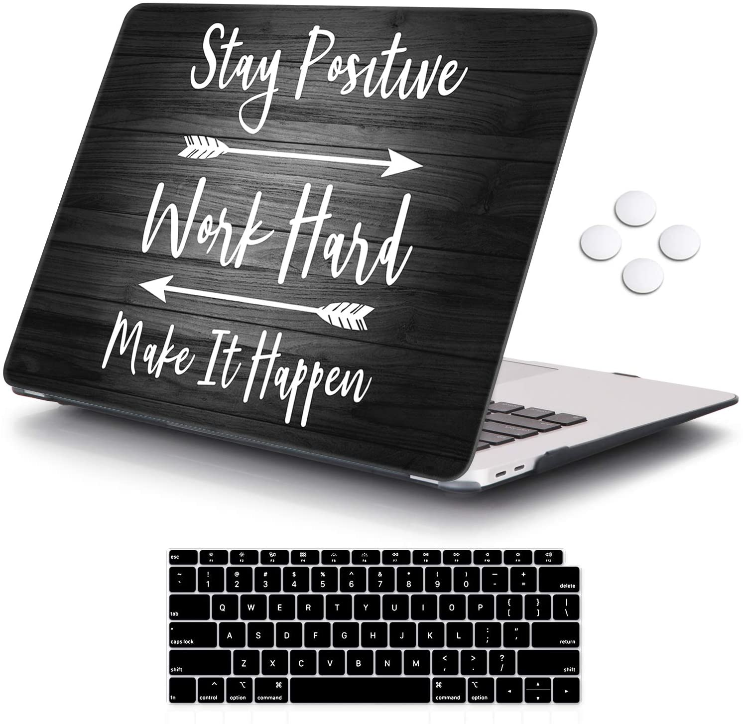 iCasso MacBook Air 13 Inch Case 2020 2019 2018 Release A2179/A1932 with Retina Display Touch ID, Durable Hard Plastic Shell Case and Keyboard Cover Compatible Newest MacBook Air 13 - Stay Positive
