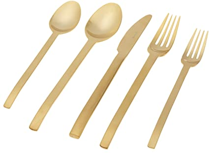 Herdmar Spiga Brushed Gold 18/10 Stainless Steel 5-Piece Place Setting by Herdmar