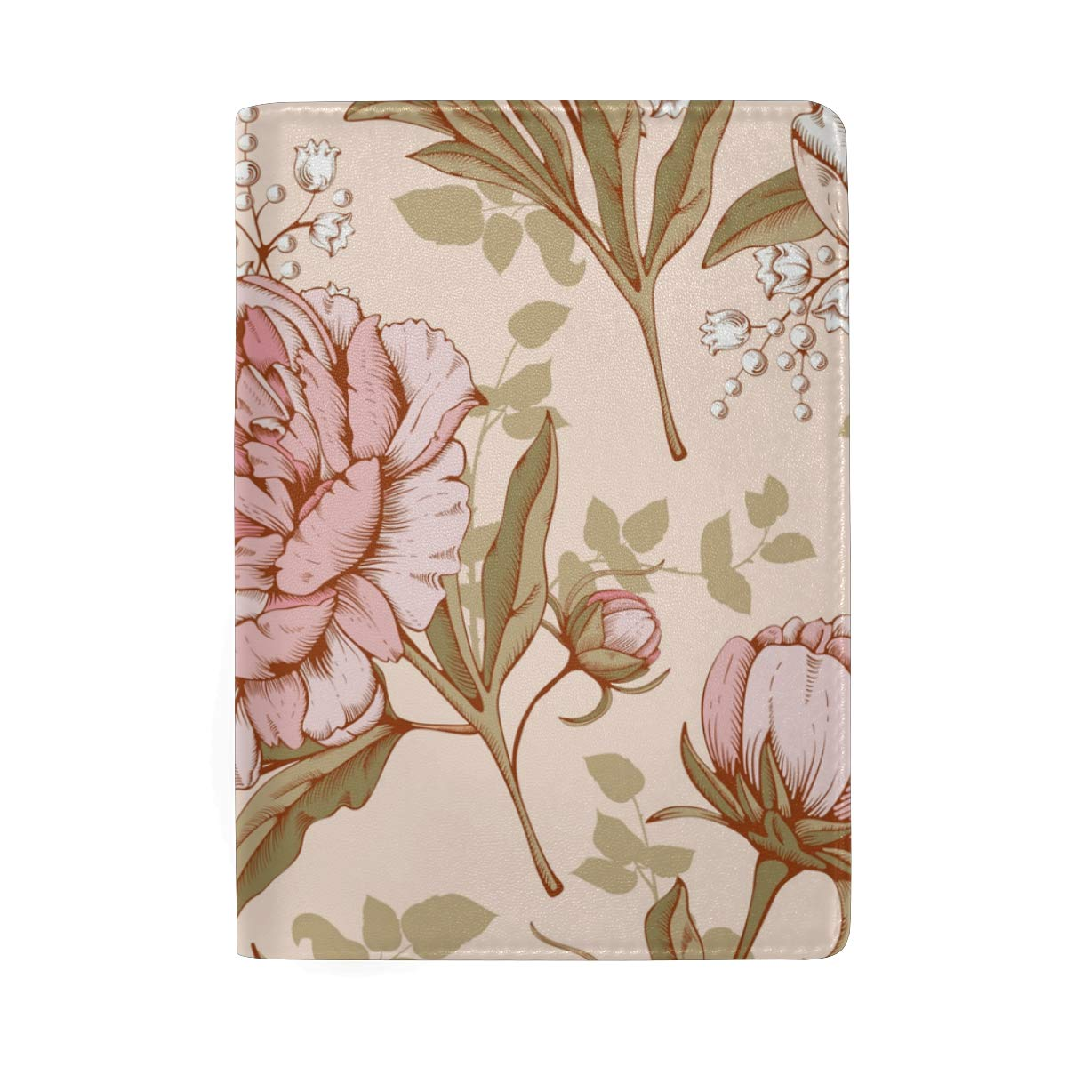 Flower Pattern Peonies Floral Leather Passport Holder Cover Case Protector for Men Women Travel with Slots