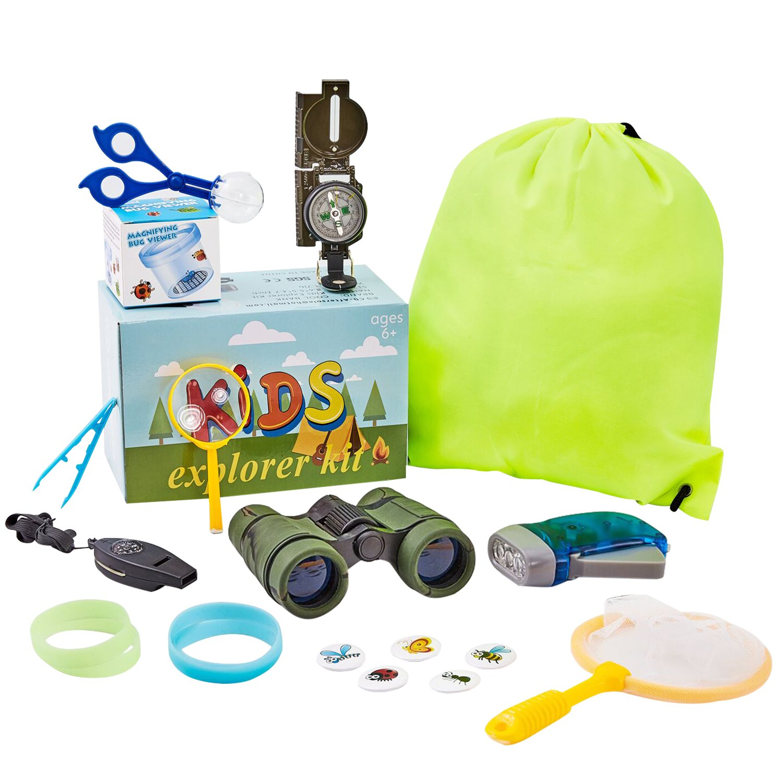HM-TECH 19pcs Kid Explorer Kit, Outdoor Adventure Set for Explorer Backyard, Family Hiking Trip, Camping, Gift Box by