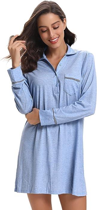 b2d3a4580622a Aibrou Femme Chemise de Nuit Manches Longue Vêtement de Nuit avec Bouton  Pyjama