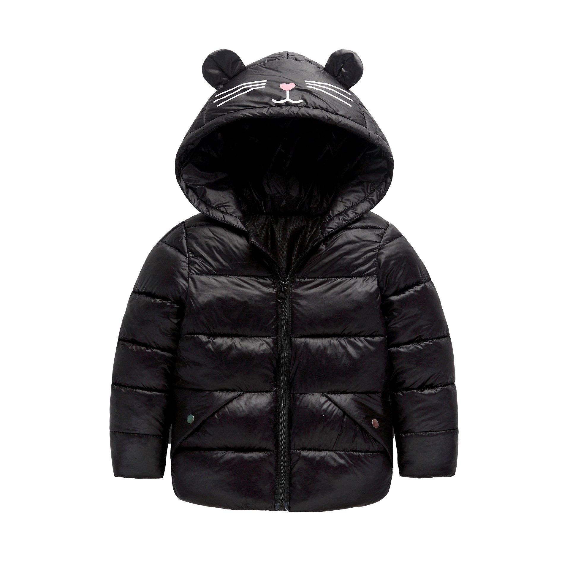 Fairy Baby Baby Boys Girls Winter Ultra Light Down Jacket Kids Ear Warm Coat Hoodie Outwear Size 1-2T (Black)