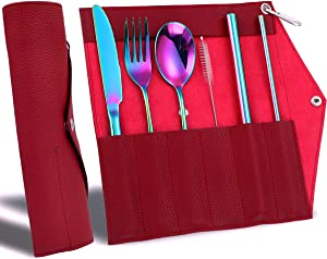 Portable Utensils Silverware Set with Bag, Travel Camping Cutlery Set and PU Leather Pouch, Flatware Organizer for Picnic Office or School Lunch Box, Rainbow Cutlery and Wine-red Bag