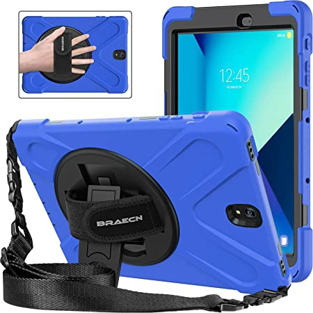 Amazon Com Braecnstock Galaxy Tab S3 9 7 Case 360 Degree Swivel Stand Hand Strap Adjustable Shoulder Strap Case Three Layer Ultra Hybrid Shockproof Full Body Protective Case For Galaxy Tab S3 9 7 Sm T820 Blue Computers