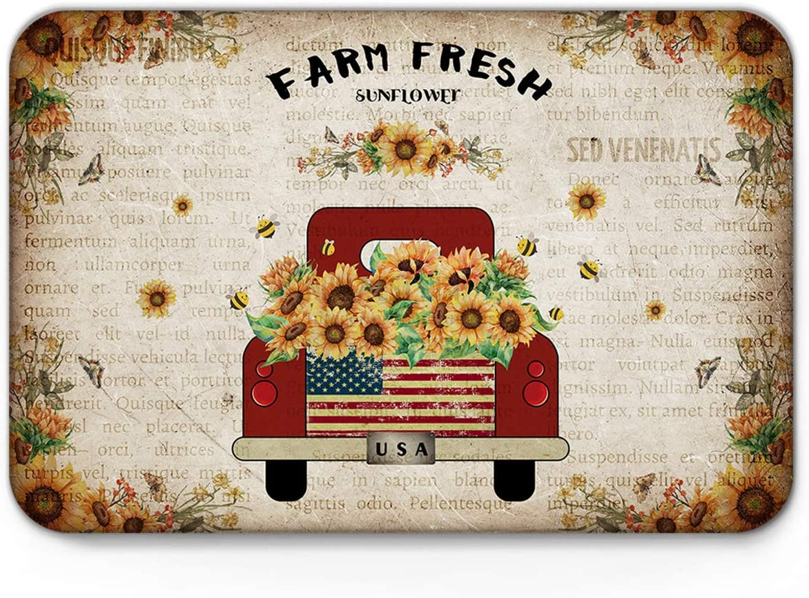 wanxinfu Doormats for Indoor/Floor/Kitchen/Bath/Pets, Fresh Farm Red Truck Loaded with Sunflowers Retro Newspaper, Funny Inside Non Slip Backing Welcome Mats Mut Dirt Shoes Scraper Mat, 20'' x 31.5''