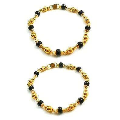 600b56f767 SMARNN Gold plated kada Bangles Bangle set Nazariya for New born baby boy  girl kid child jewellery with Black and Golden Beads (0-12 months):  Amazon.in: ...