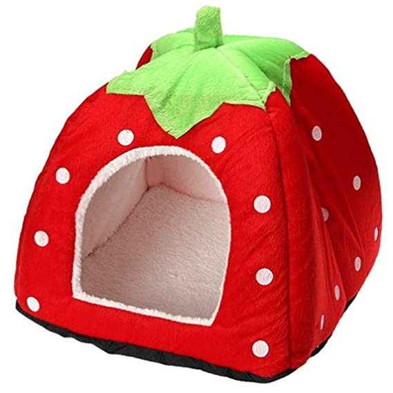 Amazon.com : Strawberry Puppy Rabbit Cat Dog House Cute Soft Cotton Fleece Pet Bed Dome Tent Warm Cushion Basket Red XL (191919 inch) : Pet Supplies