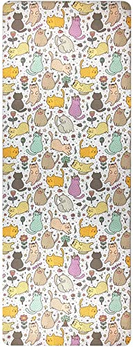 Cute Little Cat Pattern Print Foldable 1 16 Inch Thin Hot Yoga Mat