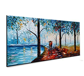 baccow - Handmade Landscape Paintings on Canas, 3D Abstract Contemporary  Art Wall Painting Pictures for Living Room Bedroom Bathroom Home Decoration  ...