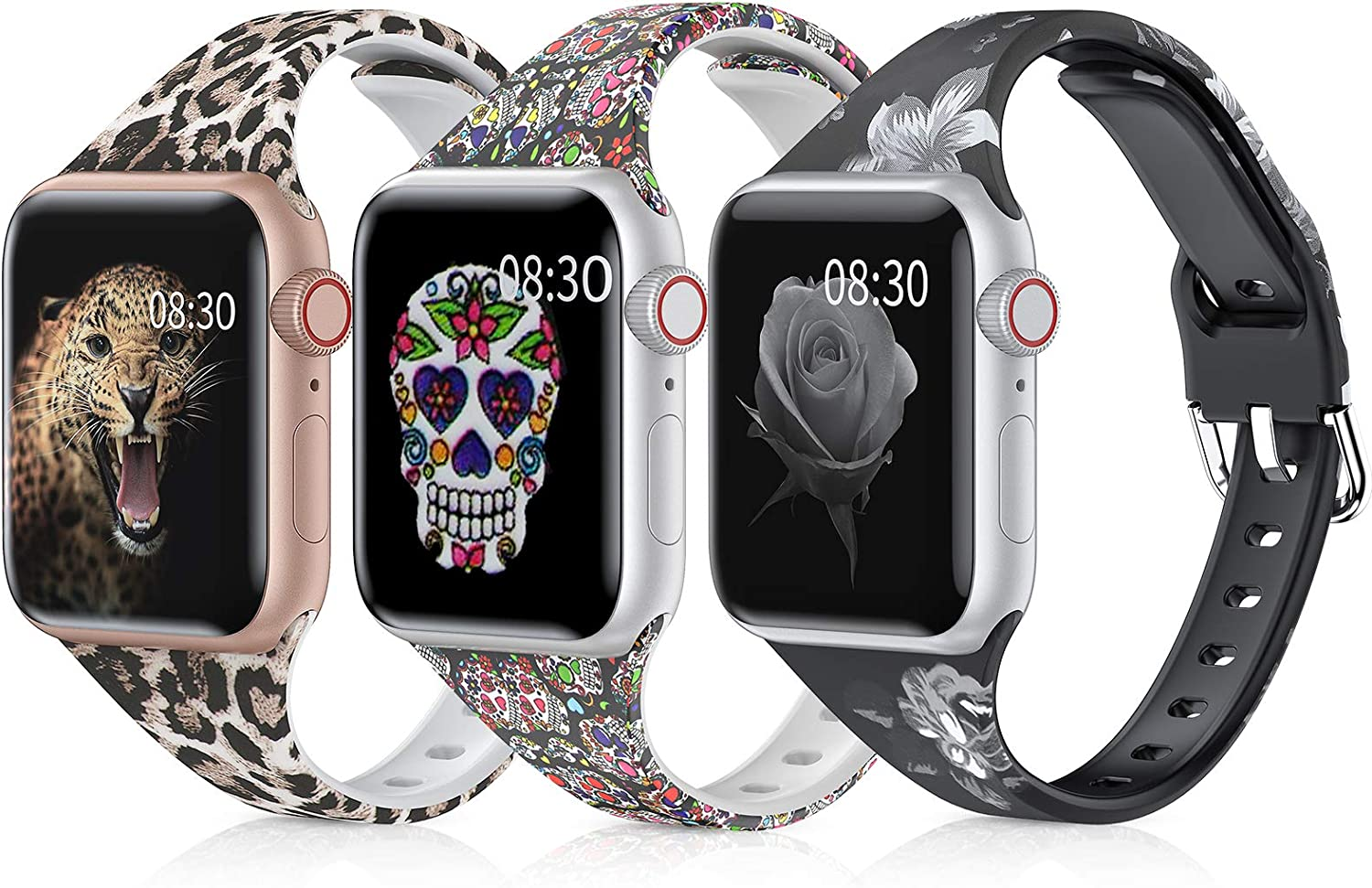 Moolia Slim Printed Pattern Band Compatible with Apple Watch Bands 38mm 40mm, Soft Silicon Floral Fadeless Women Narrow Replacement Strap for iWatch SE Series 6/5/4/3/2/1