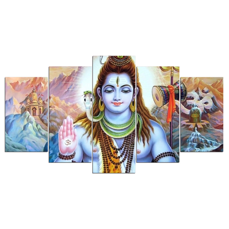 Toopia 5 PCS HD Canvas Printed Wall Art Poster Artwork - Hindu God Lord Parvati Shiva Poster Painting - Home Decor Pictures (12x20inchx2pcs, 12x28inchx2pcs, 12x32inchx1pc Wooden Frame)