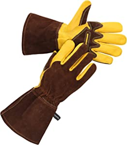 OLSON DEEPAK Grain Leather MIG Gloves with Split Leather Palm Reinforcements, Split Leather Back, Cotton Lining, Seamless Forefinger and Elastic Back (Golden-Brown)