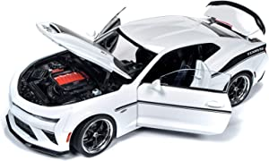 2018 Chevrolet Camaro Yenko/SC Stage II Coupe White with Black Stripes Limited Edition to 702 Pieces Worldwide 1/18 Diecast Model Car by Autoworld AW253