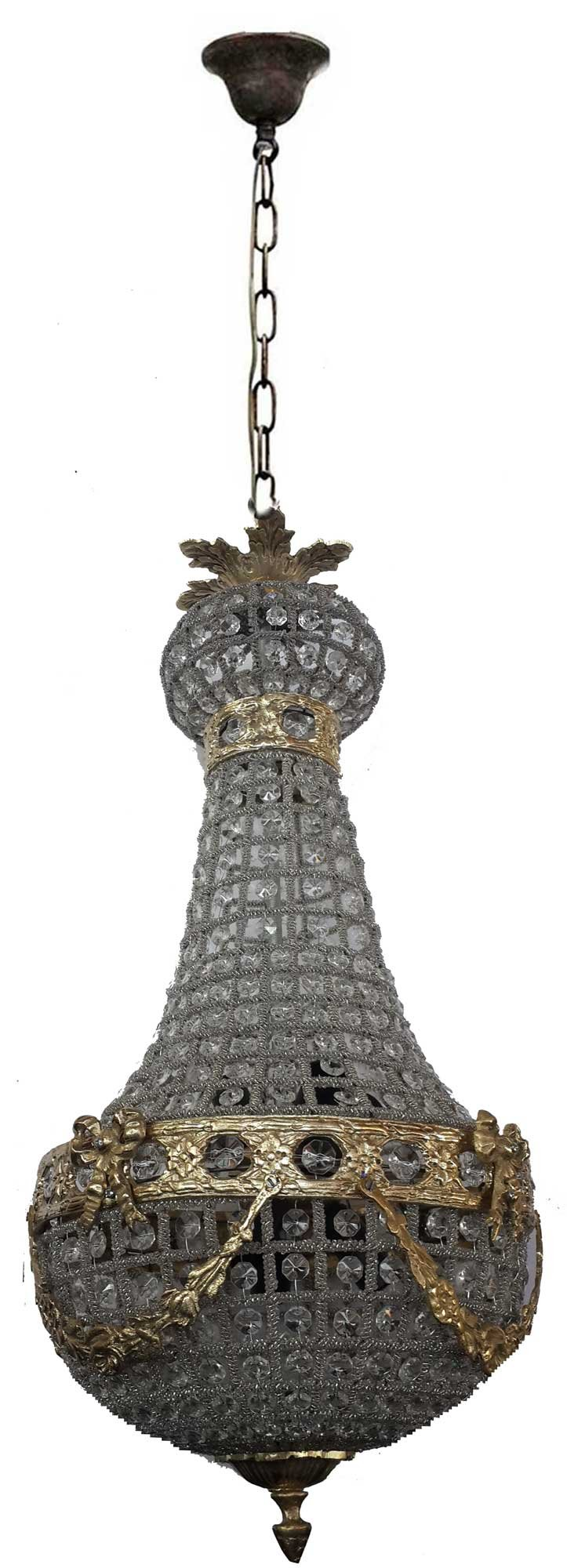 Egypt gift shops Bronze Finish Brass French Empire Antique Replica Basket Cage Crystal Chandelier Lamp Ceiling Lighting