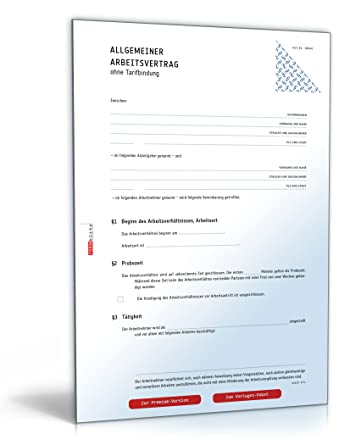 Arbeitsvertrag Muster Kostenlos Zum Download Download Amazonde