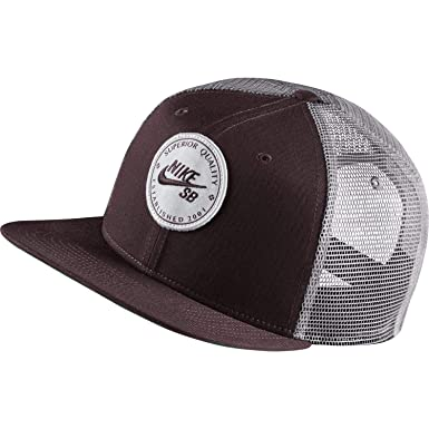 343968a887 Nike SB Unisex Pro Patch Trucker Snapback Hat Burgundy Crush/Gunsmoke at  Amazon Men's Clothing store: