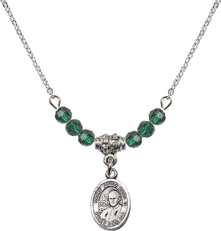 Bonyak Jewelry 18 Inch Rhodium Plated Necklace w// 4mm Green May Birth Month Stone Beads and Saint John Paul II Charm