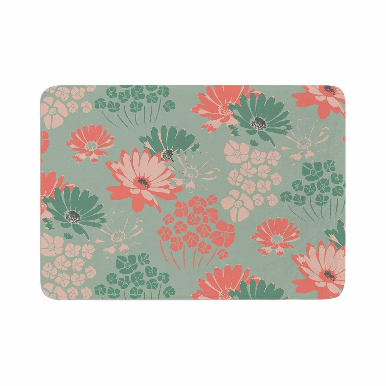 17 x 24 Kess InHouse Zara Martina Mansen Wild Gatherings Green Coral Memory Foam Bath Mat