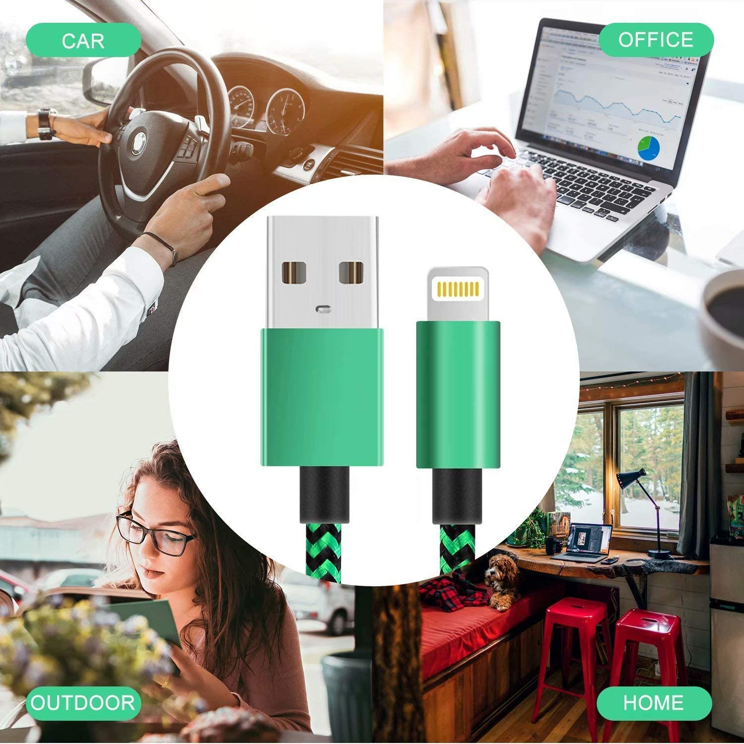 WUYA iPhone Charger MFi Certified 5 Pack