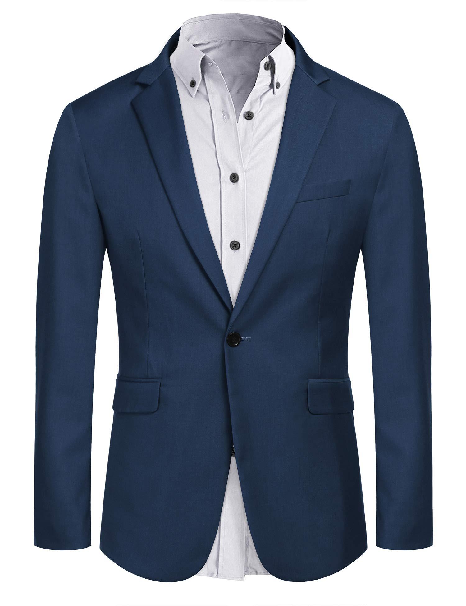 COOFANDY Mens Casual Blazer Fashion Sport Coats Slim Fit Business Suit Jacket (Blue XXXL) by COOFANDY
