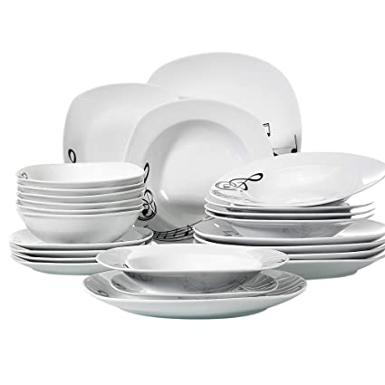VEWEET 24 Piece Tableware Set Musical Note Patterns Plate Sets Porcelain Kitchen Plates With Dinner Plate Soup Plate Dessert Plate Bowl Service