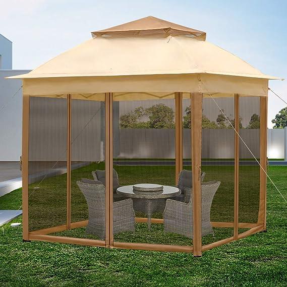 Froadp - Carpa de jardín de 3 x 3 m, con estructura de techo de doble piso, con protección contra insectos, red solar, resistente al agua, toldos para jardín o bodas, beige: