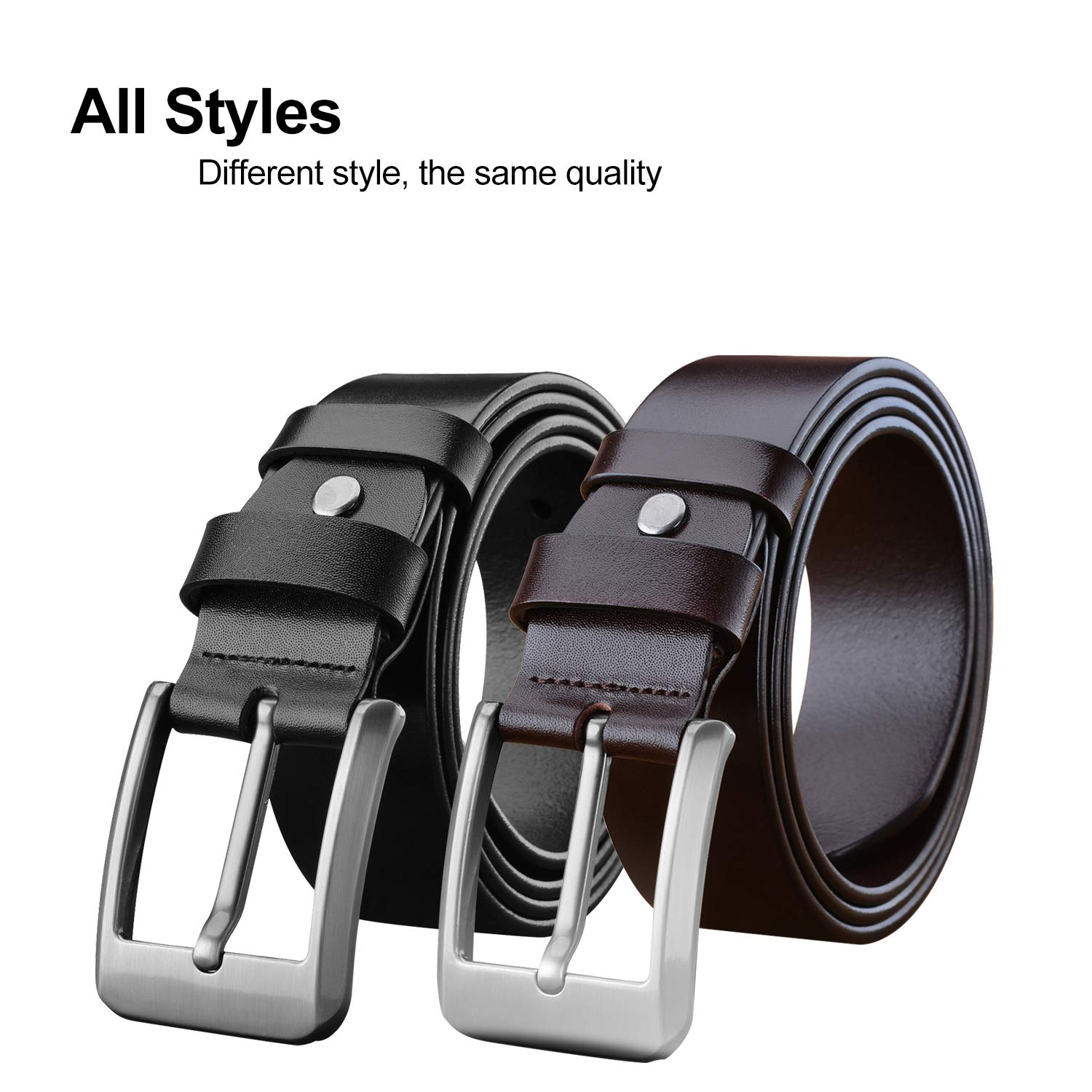 LUCIANO Classic Black Brown Genuine Leather Italy Cowhide Dress Belt for Men