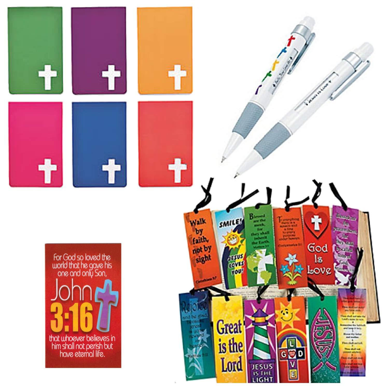 72 Piece Bible Study Favor Gift Bundle Set for Kids: Cross Notebooks, Religious Bookmarks, Bible Message Pens