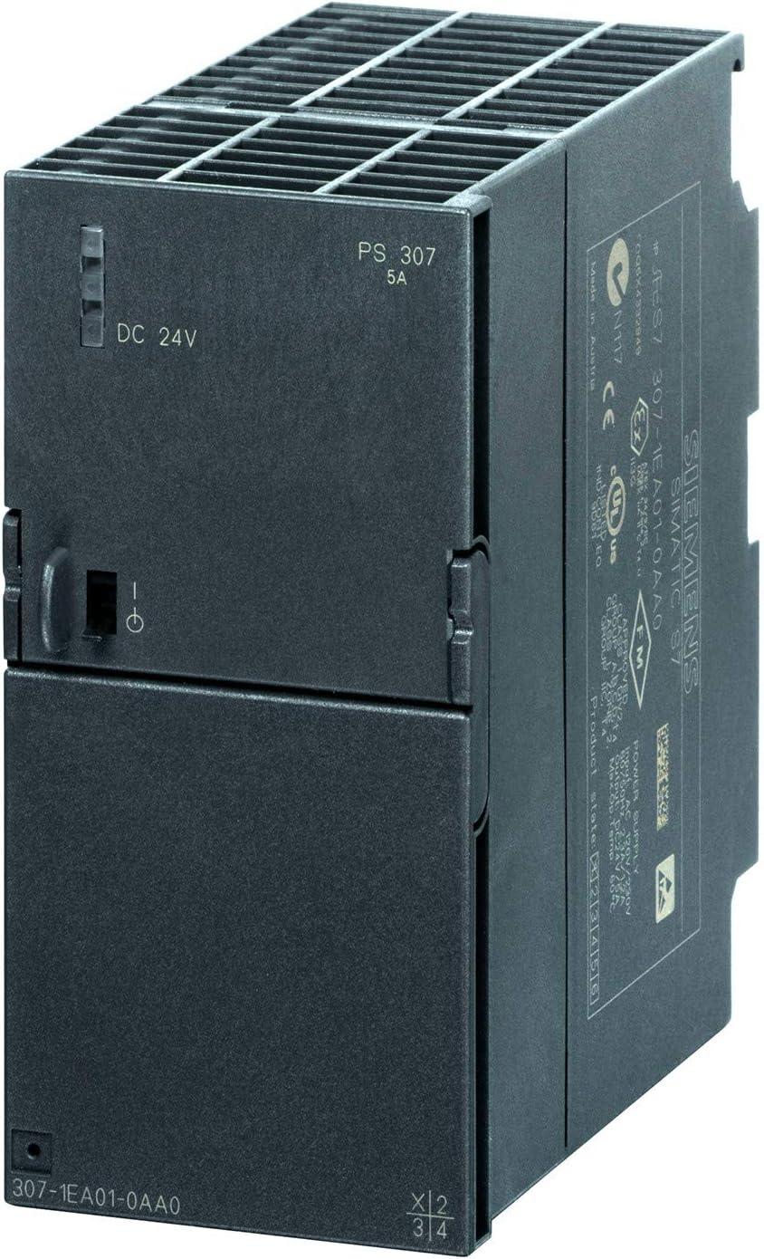 Siemens 6ES7307-1EA01-0AA0 transformador de fuente de alimentación Negro - Transformadores de uente de alimentación (Negro, 120-230 V, 50-60 Hz, 24 V, 5 A, 0-60 °C)