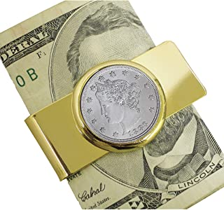 product image for Coin Money Clip - 1883 First-Year-of-Issue Liberty Nickel | Brass Moneyclip Layered in Pure 24k Gold | Genuine Turquoise Stones | Holds Currency, Credit Cards, Cash | Genuine U.S. Coin | Certificate