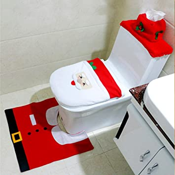 christmas toilet seat cover and rug set for christmas decoration bathroom red