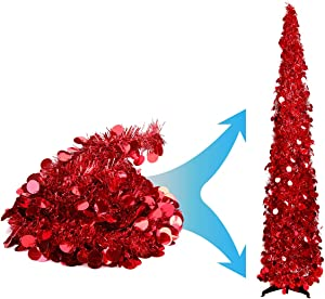 Joy-Leo 5 Foot Red Sequin Pop Up Tinsel Christmas Tree, Easy to Assemble and Store, for Small Spaces Apartment Fireplace Party Home Office Store Classroom Xmas Decorations