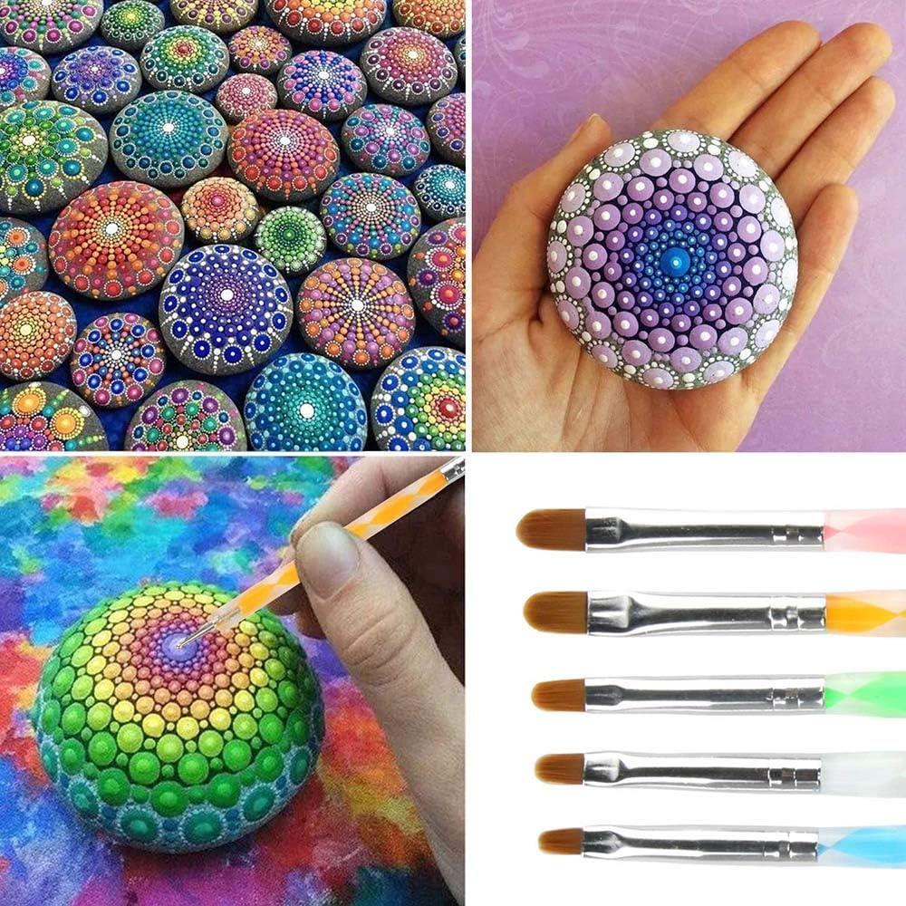 28 Pcs Mandala Dotting Tools Set Mandala Rocks Painting Kit Mandala Dotting Pen Include Mandala Stencil Paint Tray Brush and Modeling Tools for DIY Mandala Painting Art Crafts Clay Sculpting Tools 28