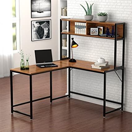 Little Tree L Shaped Desk With Hutch, Corner Computer Desk PC Laptop Study  Gaming