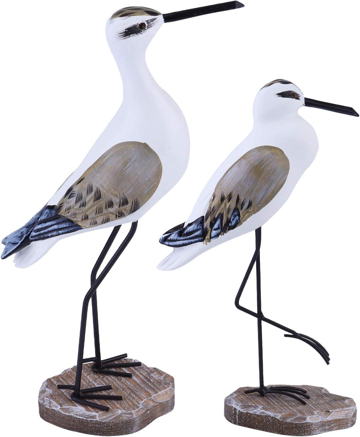 ARTIBETTER 2 Pcs Nautical Statue Seagull Figurine Decorations Vintage Bird Statue Coastal Beach Table Home Decorations Nautical Gifts Light Brown