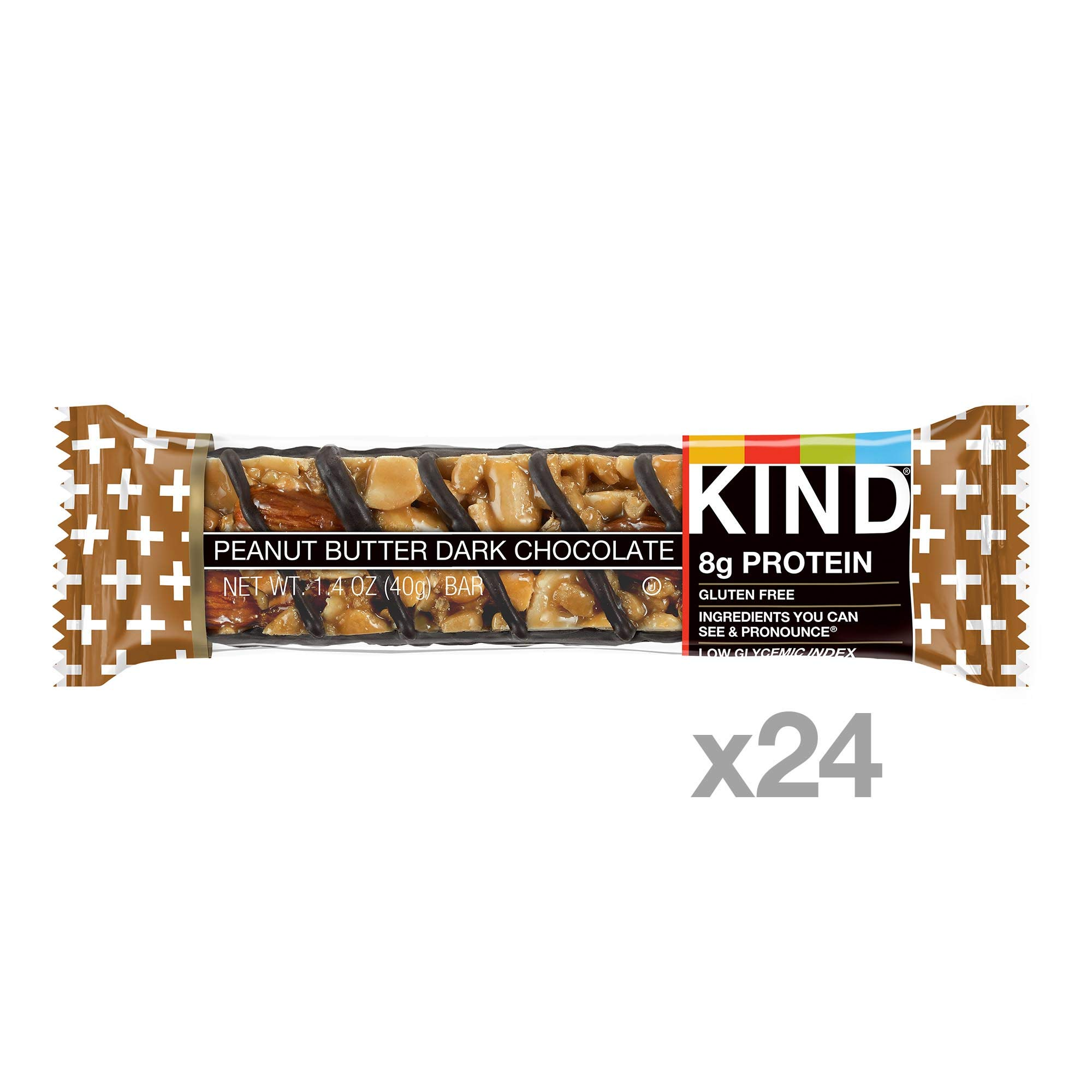 KIND Bars, Peanut Butter Dark Chocolate, 8g Protein, Gluten Free, 1.4 Ounce Bars, 24 Count by KIND (Image #2)