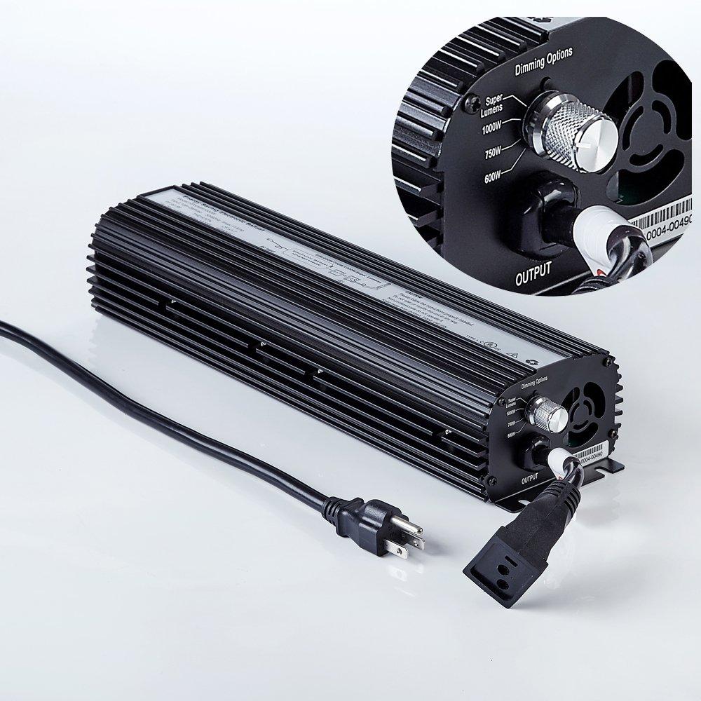 Hongruilite 600W 1000W HPS MH Digital Electronic Dimmable 600 watt Grow light Ballast Built-in Fan UL ETL Listed for Indoor Hydroponic Growing System (600W)