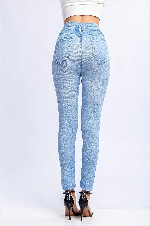 Femme 3//4 Jeans Look Leggings Jeggings Imprim/é Denim Jeans /Élastiques Taille Haute Pantalon Skinny Collants Stretch XS-3XL Fligend