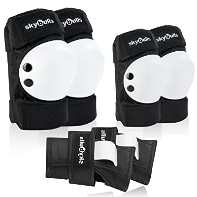 skybulls Knee Pads for Kids, Premium Knee Elbow Pads with Adjustable Wrist Guards [6 Pack] Kids Toddler Protective Gear for Rollerblading Skating Bike Scooter Skateboarding : Sports & Outdoors