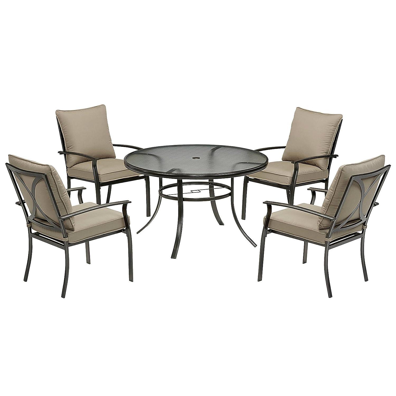 Beautiful Amazon.com: Modern Patio Furniture Harrison 5 Piece Cushion Dining Set    Tan: Garden U0026 Outdoor