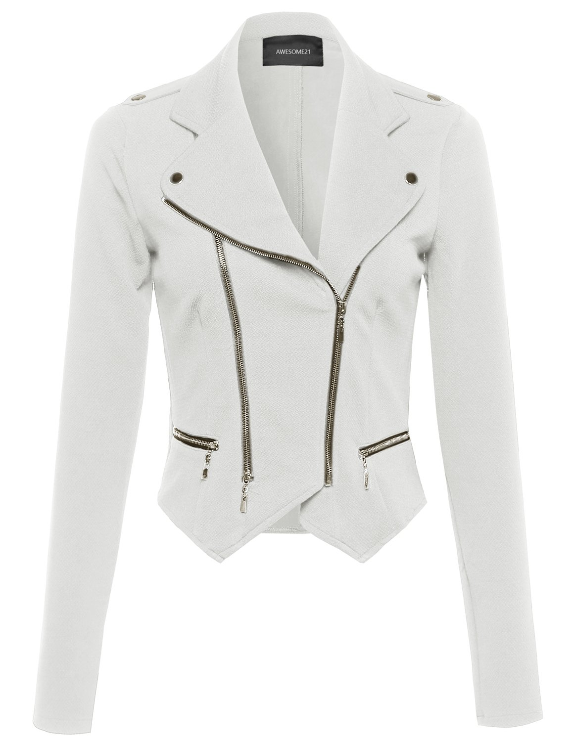 Awesome21 Long Sleeve Double Zip Moto Jacket Offwhite Size S