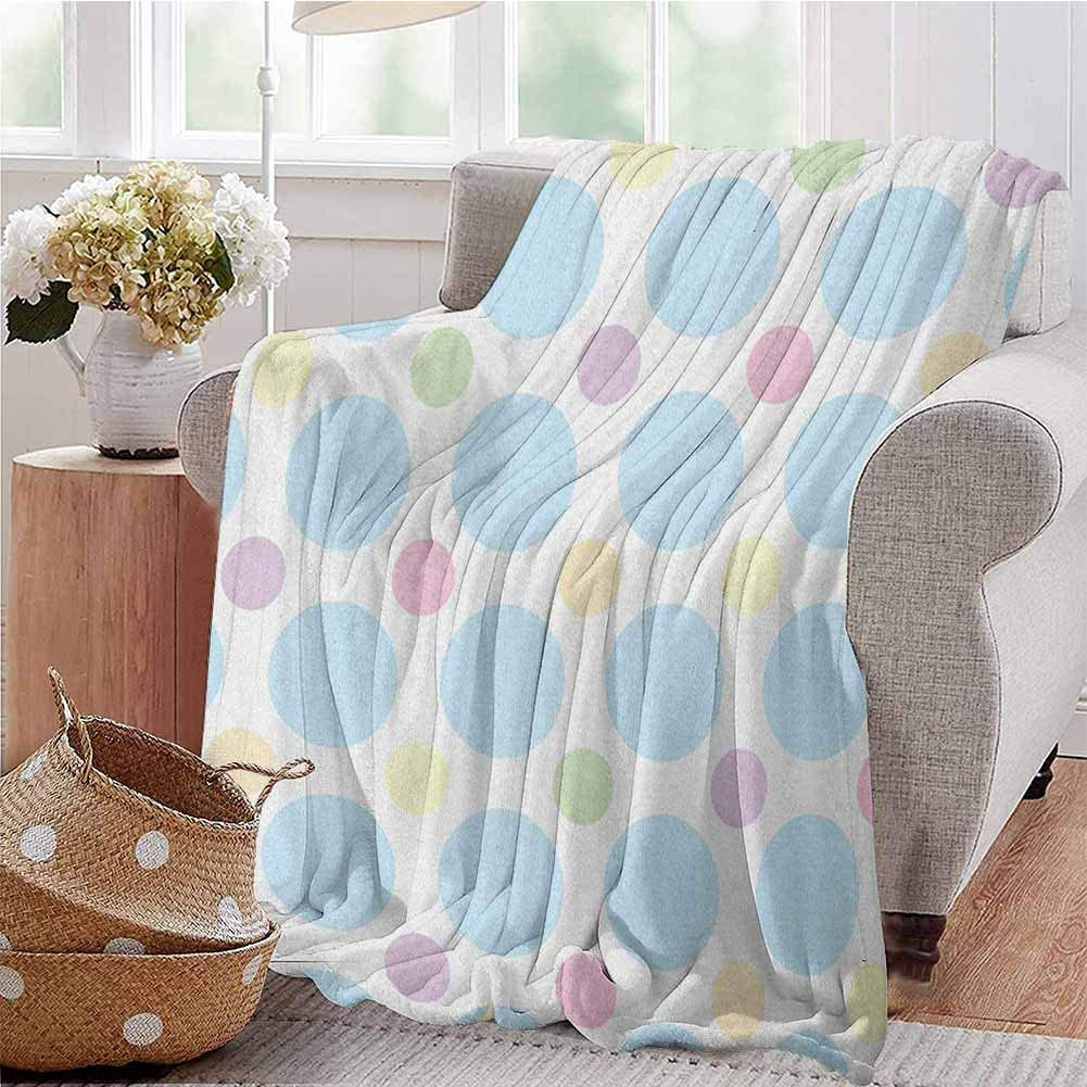 Luoiaax Seafoam Bedding Flannel Blanket Colorful Pastel Polka Dots Abstract Arrangement Children Themed Circular Pattern Super Soft and Comfortable Luxury Bed Blanket W70 x L84 Inch Multicolor