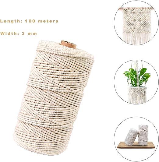 Hecha a Mano Craft Cuerda,Cordel de Algodón,natural trenzado ...